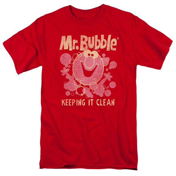 Mr Bubble Keeping It Clean Short Sleeve Adult T-Shirt