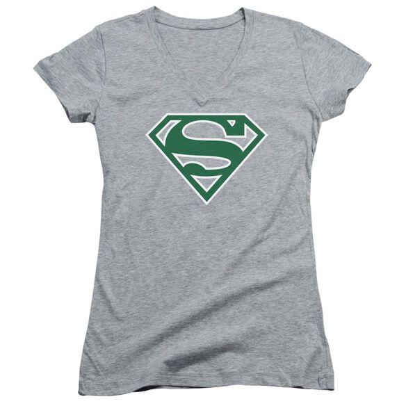 Superman Green & White Shield Junior V Neck Athletic T-Shirt