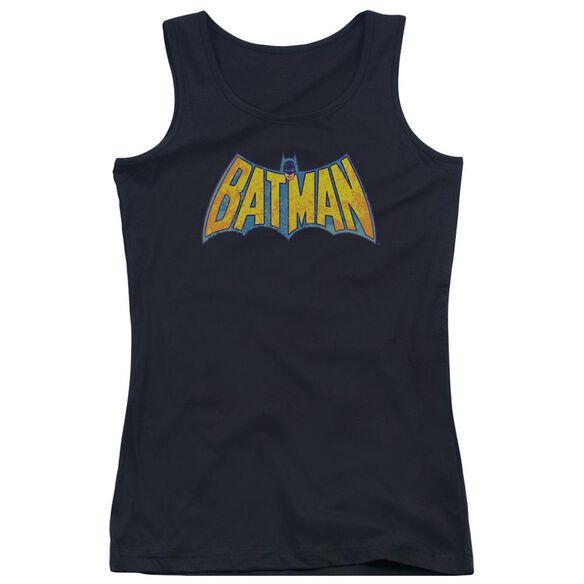 Dco Batman Neon Distress Logo Juniors Tank Top