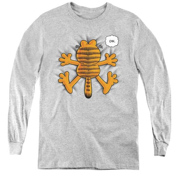 Garfield Ow - Youth Long Sleeve Tee - Athletic Heather