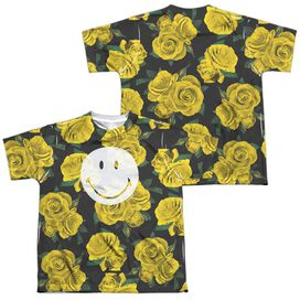 Smiley World Rosey Smile (Front Back Print) Short Sleeve Youth Poly Crew T-Shirt