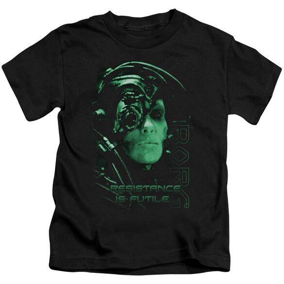 Star Trek Resistance Is Futile Short Sleeve Juvenile Black T-Shirt