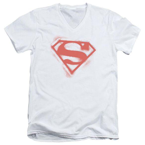 Superman Spray Paint Shield Short Sleeve Adult V Neck T-Shirt