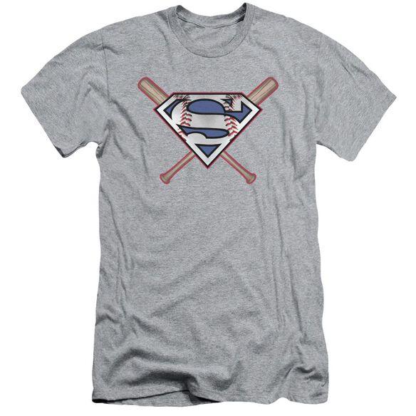 Superman Crossed Bats Short Sleeve Adult Athletic T-Shirt