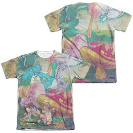 Dragon Tales Mushroom Meadow (Front Back Print) Adult Poly Cotton Short Sleeve Tee T-Shirt