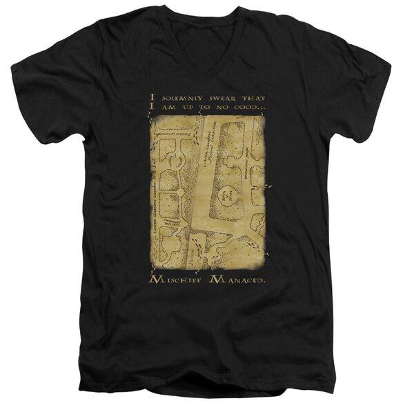 Harry Potter Marauders Map Interior Words Short Sleeve Adult V Neck T-Shirt