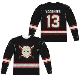 Friday The 13 Th Voorhees Jersey (Front Back Print) Long Sleeve Adult Poly Crew T-Shirt