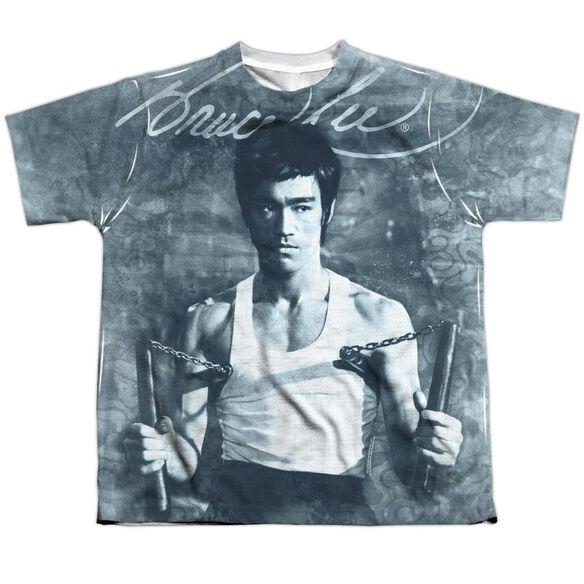Bruce Lee Nunchucks Short Sleeve Youth Poly Crew T-Shirt