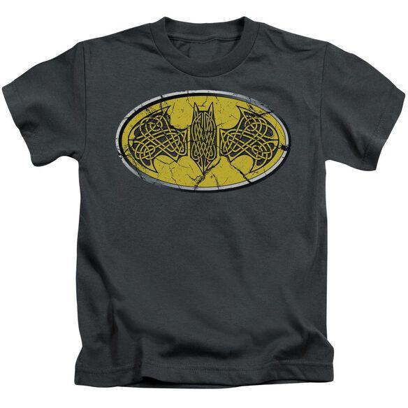 Batman Celtic Shield Short Sleeve Juvenile Charcoal T-Shirt
