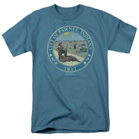 Parks And Rec Distressed Pawnee Seal Short Sleeve Adult Slate T-Shirt