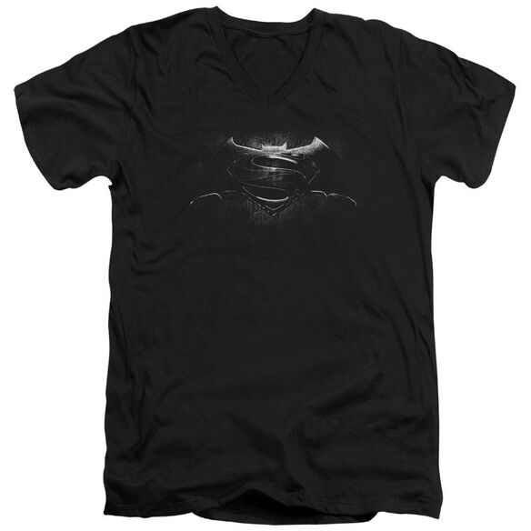 Batman V Superman Bw Logo Short Sleeve Adult V Neck T-Shirt