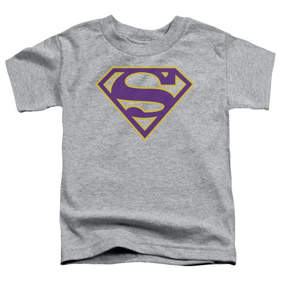 Superman Purple & Gold Shield Short Sleeve Toddler Tee Athletic Heather T-Shirt