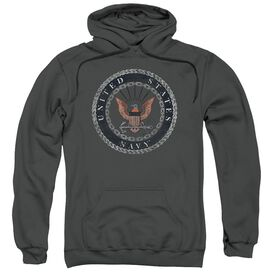 Navy Rough Emblem Adult Pull Over Hoodie