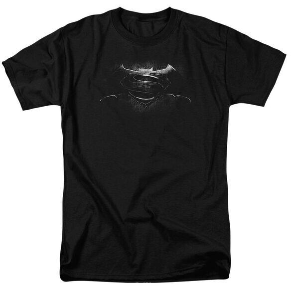 Batman V Superman Bw Logo Short Sleeve Adult Black T-Shirt