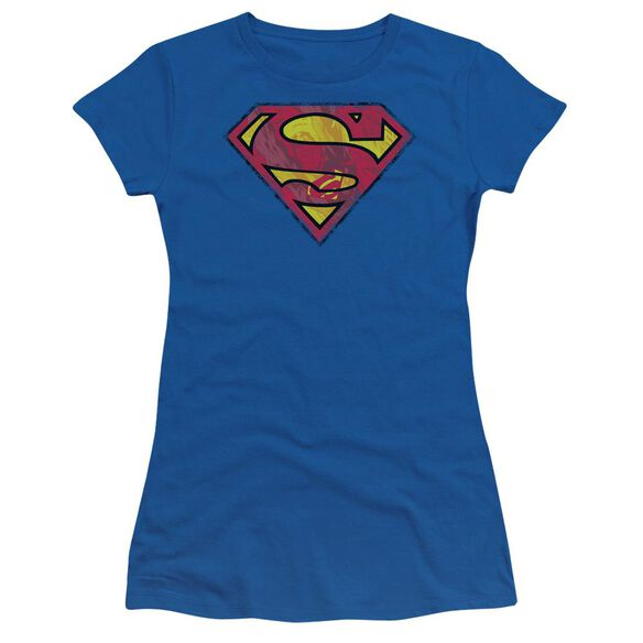 Superman Action Shield Short Sleeve Junior Sheer Royal T-Shirt