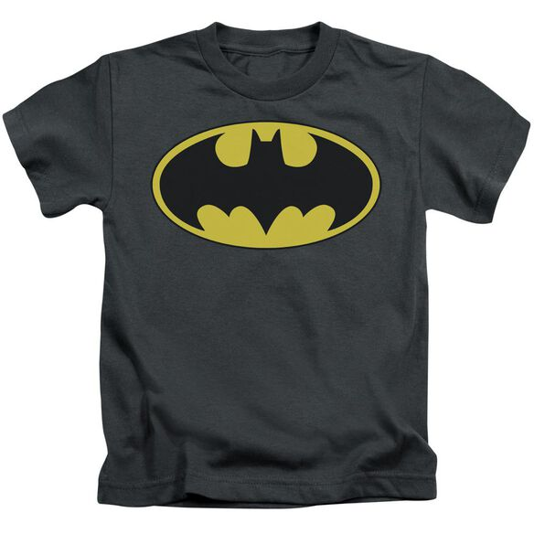 Batman Classic Bat Logo Short Sleeve Juvenile Charcoal T-Shirt