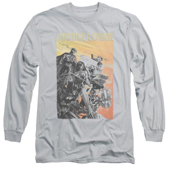 Jla Red Dawn Long Sleeve Adult T-Shirt