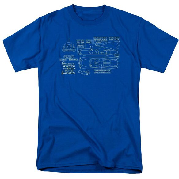 BATMAN BATMOBILE-S/S ADULT 18/1 - ROYAL BLUE T-Shirt