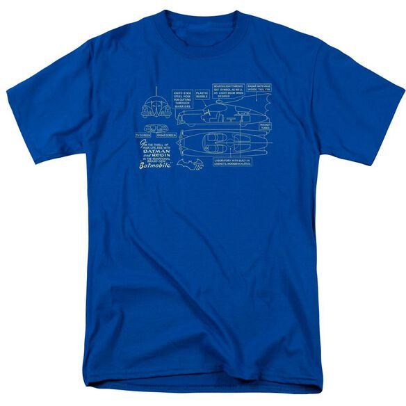 Batman Batmobile Short Sleeve Adult Royal Blue T-Shirt