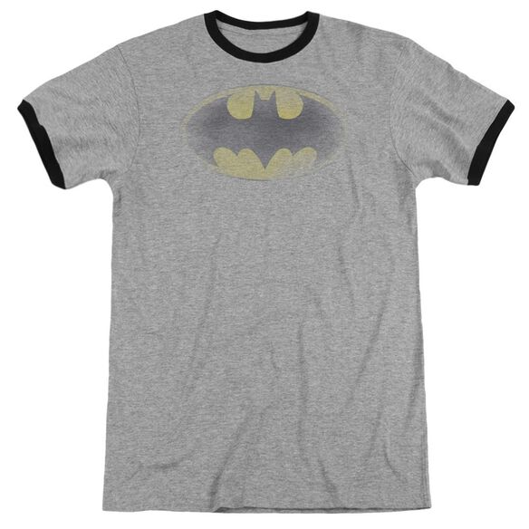 Batman Faded Logo Adult Ringer Heather Black
