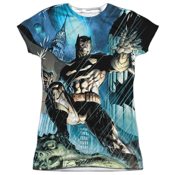 Batman Rainy Rooftop Short Sleeve Junior Poly Crew T-Shirt