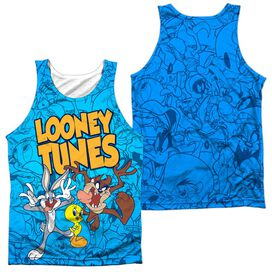 Looney Tunes Collage Of Characters (Front Back Print) Adult Poly Tank Top