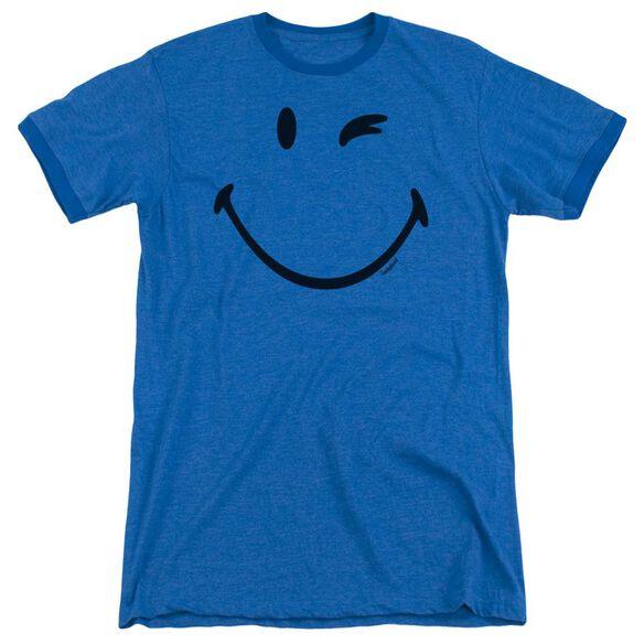 Smiley World Big Wink Adult Heather Ringer Royal Blue