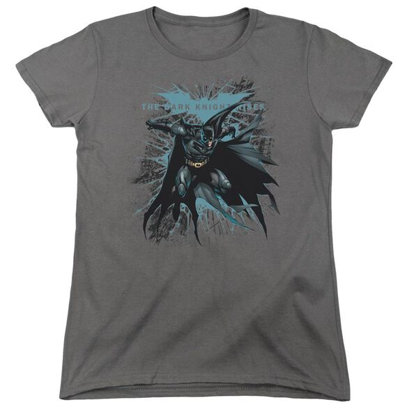 Dark Knight Rises Blue Crackle Short Sleeve Womens Tee Black T-Shirt