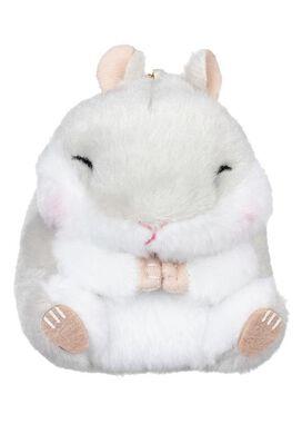 Grey and White Hamster Plush Keychain