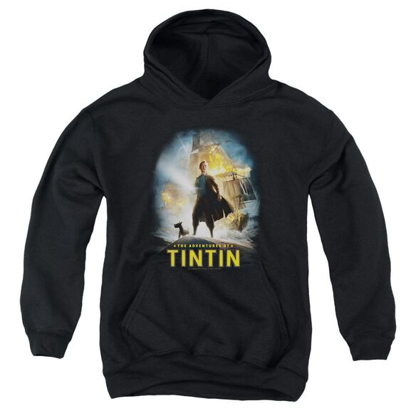 Tintin Poster Youth Pull Over Hoodie