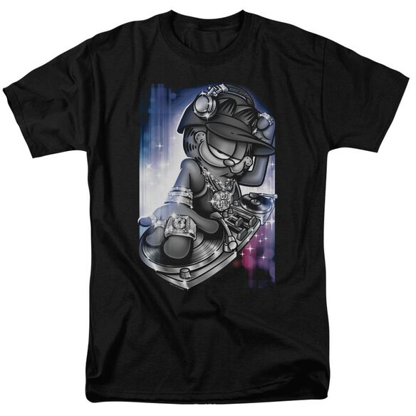 GARFIELD DJ LAZY - S/S ADULT 18/1 - BLACK T-Shirt