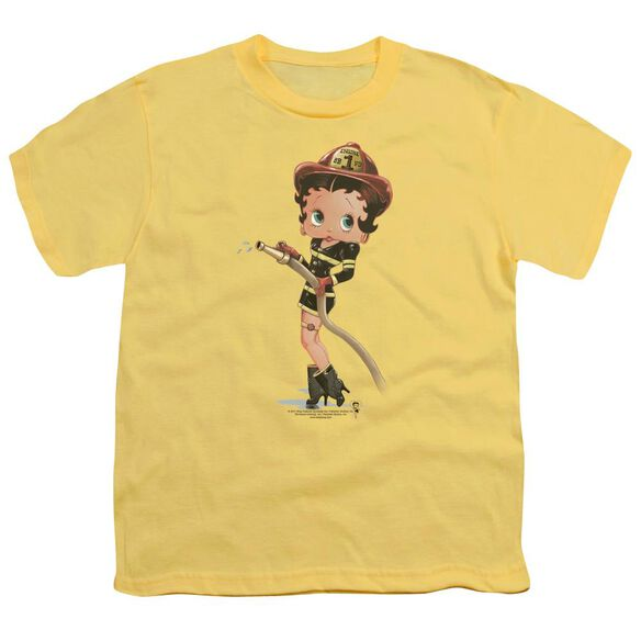 Betty Boop Firefighter Short Sleeve Youth T-Shirt