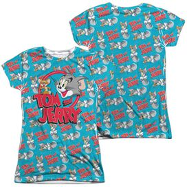 Tom And Jerry Double Trouble (Front Back Print) Short Sleeve Junior Poly Crew T-Shirt