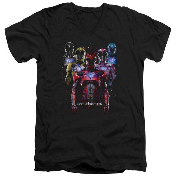 Power Rangers Team Of Rangers Short Sleeve Adult V Neck T-Shirt