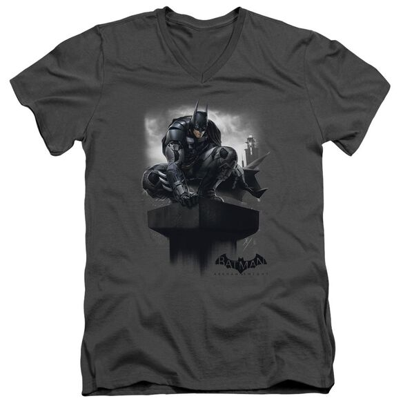 Batman Arkham Knight Perched Short Sleeve Adult V Neck T-Shirt