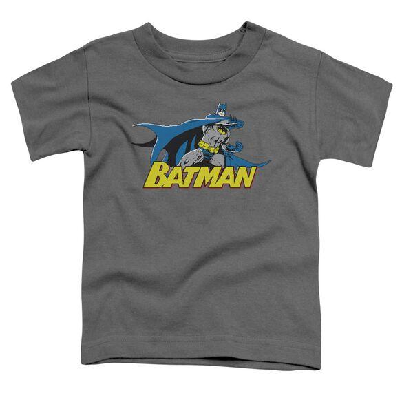 Batman 8 Bit Cape Short Sleeve Toddler Tee Charcoal Sm T-Shirt