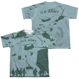 Army Airborne (Front Back Print) Short Sleeve Youth Poly Crew T-Shirt
