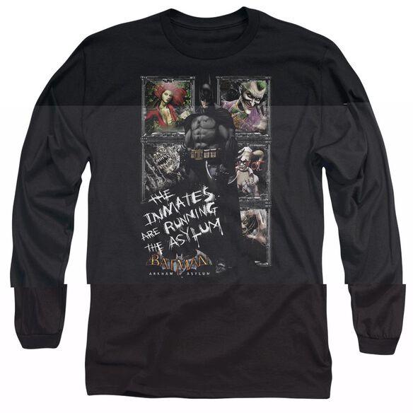 BATMAN AA RUNNING THE ASYLUM - L/S ADULT 18/1 - BLACK T-Shirt