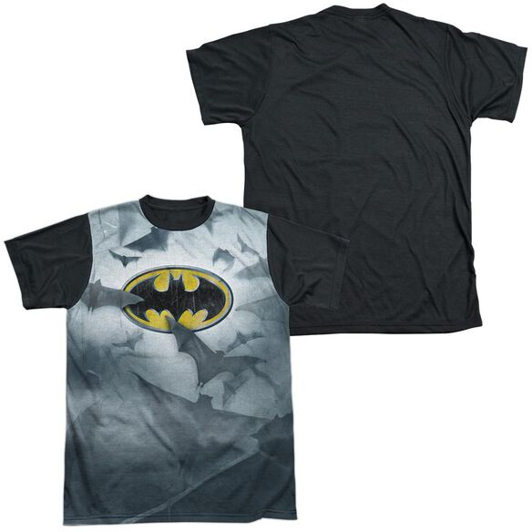 Batman Bats Logo Short Sleeve Adult Front Black Back T-Shirt