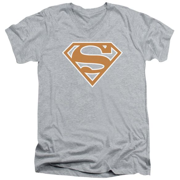 SUPERMAN BURNT ORANGE&WHITE SHIELD - S/S ADULT V-NECK - ATHLETIC HEATHER T-Shirt