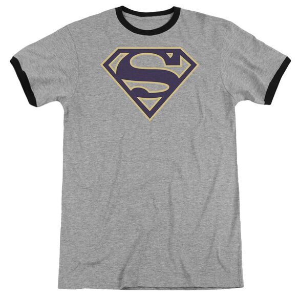 Superman Navy & Gold Shield Adult Ringer Heather Black