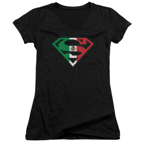 Superman Mexican Flag Shield Junior V Neck T-Shirt
