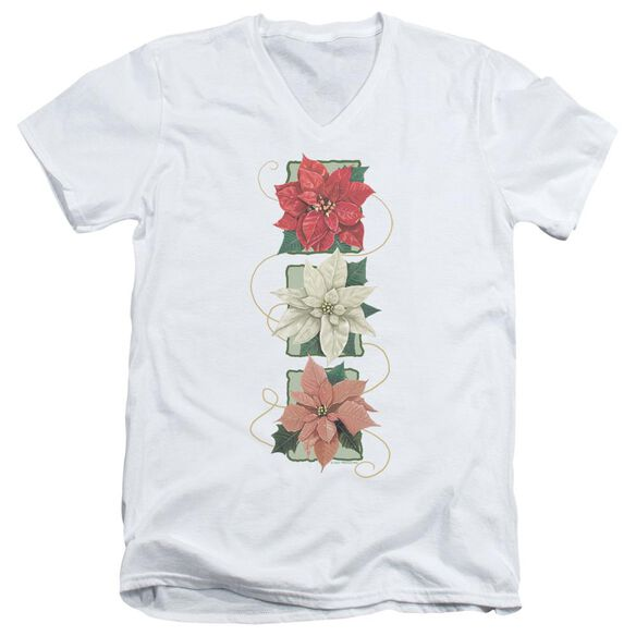 Poinsettias Short Sleeve Adult V Neck T-Shirt