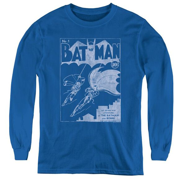 Batman Issue 1 Cover - Youth Long Sleeve Tee - Royal Blue