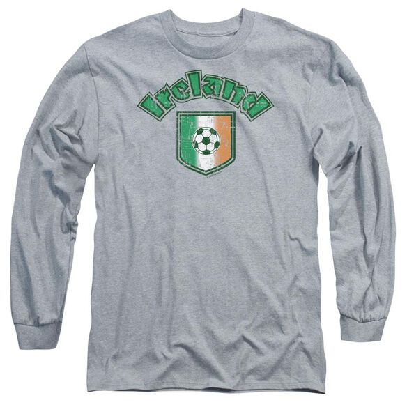 Ireland With Soccer Flag Long Sleeve Adult Athletic T-Shirt