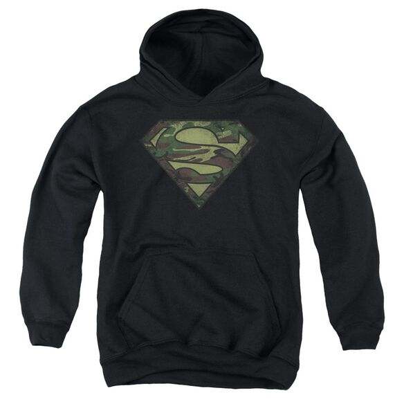 Superman Camo Logo Distressed Youth Pull Over Hoodie