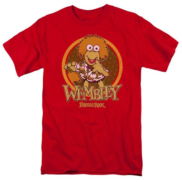 Fraggle Rock Wembley Circle Short Sleeve Adult Red T-Shirt