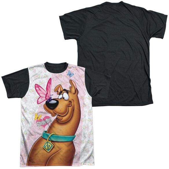 Scooby Doo Butterfly Short Sleeve Adult Front Black Back T-Shirt