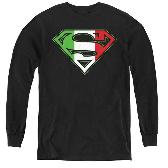Superman Italian Shield - Youth Long Sleeve Tee - Black