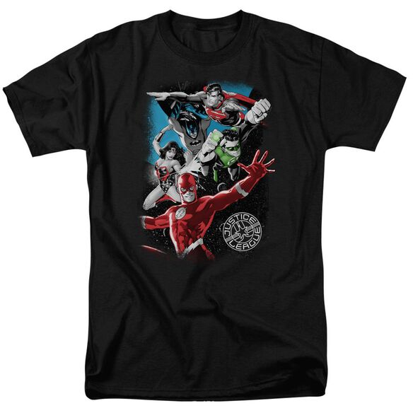 Jla Galactic Attack Short Sleeve Adult T-Shirt